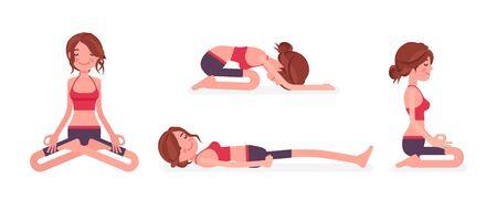 Young yogi woman practicing yoga in restorative and seated poses, Padmasana, Lotus variation, Child, Balasana exercise seiza, vajrasana and Dead Body, Savasana. Vector flat style cartoon illustration