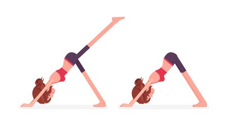 Young sporty yogi woman practicing yoga, doing Downward facing dog, adho mukha svanasana pose and one legged variation, exercise for healthy habit workout. Vector flat style cartoon illustration Ilustração
