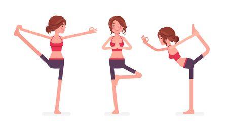 Young yogi woman practicing yoga, doing Utthita Hasta Padangustasana, Extended Hand to Big Toe exercise, Natarajasana, Lord of Dance and Vrksasana, Tree pose. Vector flat style cartoon illustration