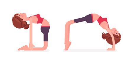 Young sporty yogi woman practicing yoga, doing Ustrasana, Camel pose and Bridge, Urdhva Dhanurasana exercise, attractive girl training for healthy habit workout. Vector flat style cartoon illustration