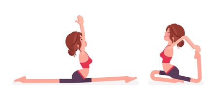Young yogi woman practicing yoga, doing Monkey God, Splits, Hanumanasana pose and One Legged King Pigeon, Eka Pada Rajakapotasana exercise for healthy workout. Vector flat style cartoon illustration
