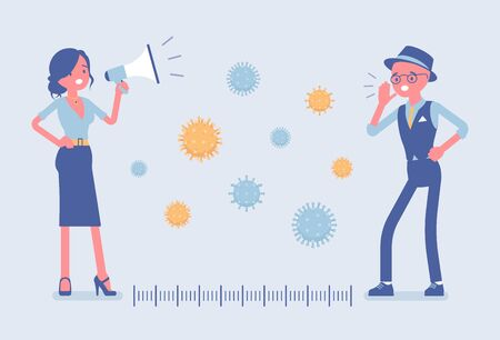 Safe distance as protection measure against virus. Man and woman speaking far away with megaphone, following protect advices to prevent the spread of disease. Vector flat style cartoon illustration