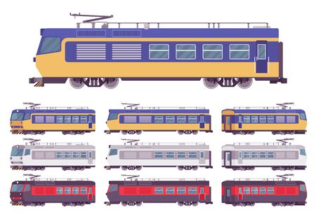Electric passenger bright train set. Railway passenger-carrying suburban vehicle, railroad engine tourism service and train journeys. Vector flat style cartoon illustration, different views and colors