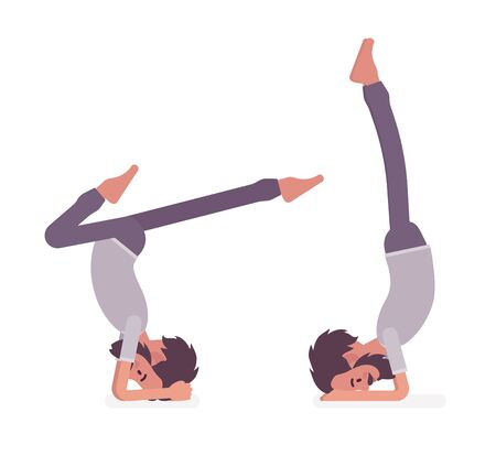 Man in yogi sport wear practicing yoga, headstand, variation of salamba sirsasana pose and handstand exercise, handsome guy training for healthy habit workout. Vector flat style cartoon illustration Illustration