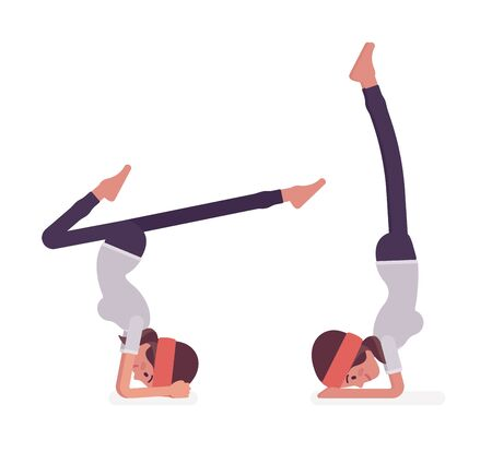 Woman in yogi sport wear practicing yoga, headstand, variation of salamba sirsasana pose and handstand exercise, attractive girl training, healthy habit workout. Vector flat style cartoon illustration Illustration