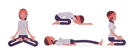 Woman in yogi wear practicing yoga in restorative, seated poses, Padmasana, Lotus variation, Child, Balasana exercise, seiza vajrasana, Dead Body, Savasana. Vector flat style cartoon illustration