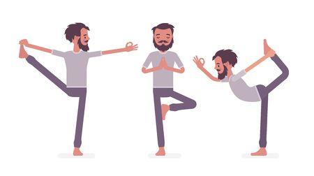 Man in yogi sports wear practicing yoga, Utthita Hasta Padangustasana, Extended Hand to Big Toe exercise, Natarajasana, Lord of Dance and Vrksasana, Tree pose. Vector flat style cartoon illustration