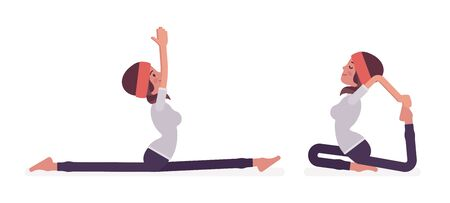 Woman in yogi sport wear practicing yoga, Monkey God, Splits, Hanumanasana pose and One Legged King Pigeon, Eka Pada Rajakapotasana exercise for healthy workout. Vector flat style cartoon illustration