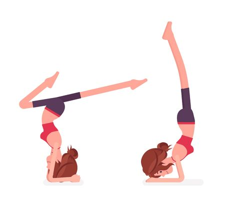 Young yogi woman practicing yoga, doing headstand, variation of salamba sirsasana pose and handstand exercise, attractive girl training, healthy habit workout. Vector flat style cartoon illustration Illustration