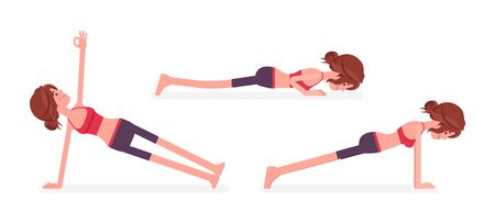 Young yogi woman practicing yoga, doing Push and press ups, phalankasana, Plank exercise, Vasisthasana pose, sporty girl training for healthy habit workout. Vector flat style cartoon illustration