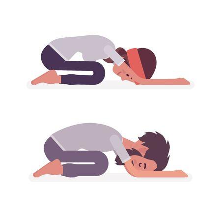 Young yogi man and woman in sports wear practicing yoga, partners doing Child pose, Balasana exercise, stress-free yogic meditation practice. Vector flat style cartoon illustration