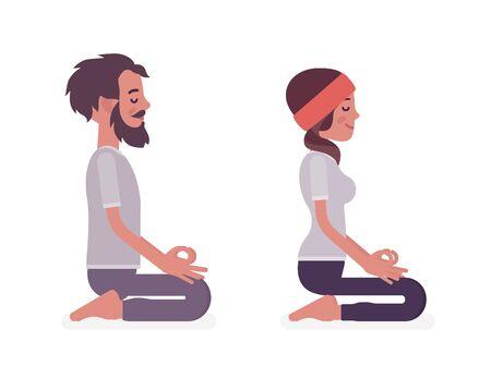 Young yogi man and woman in sports wear practicing yoga, partners doing seiza pose, vajrasana exercise, stress-free yogic meditation practice. Vector flat style cartoon illustration