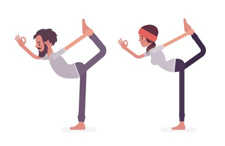 Young yogi man and woman in sports wear practicing yoga, partners doing Natarajasana pose, Lord of the Dance exercise, stress-free yogic practice. Vector flat style cartoon illustration Stock Photo