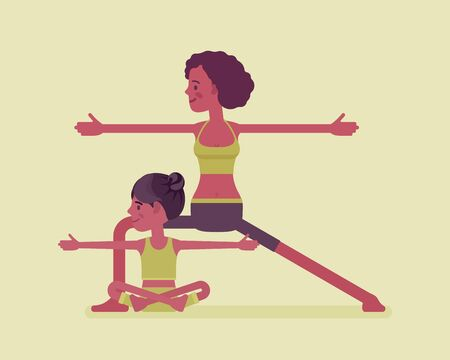Yogi black family, mother, daughter in sport wear practicing yoga together, mom with kid doing Warrior pose, Virabhadrasana exercise, parent child healthy hobby. Vector flat style cartoon illustration