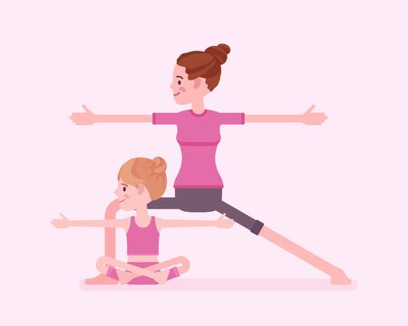 Yogi family, mother and daughter in sport wear practicing yoga together, mom with kid doing Warrior pose, Virabhadrasana 2 exercise, parent, child healthy hobby. Vector flat style cartoon illustration Vectores