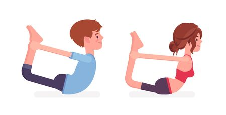 Young yogi man and woman in sports wear practicing yoga, partners doing Dhanurasana pose, Bow exercise, yogic practice for physical and mental health. Vector flat style cartoon illustration, side view