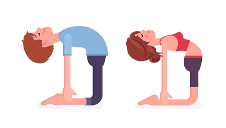 Young yogi man and woman in sports wear practicing yoga, partners doing Ustrasana pose, Camel exercise, yogic practice for physical and mental health. Vector flat style cartoon illustration, side view