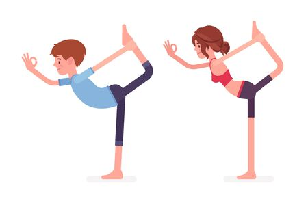 Young yogi man and woman in sports wear practicing yoga, partners doing Natarajasana pose, Lord of the Dance exercise, stress-free yogic practice. Vector flat style cartoon illustration, side view Illustration