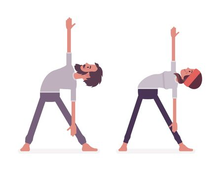 Young yogi man and woman in sports wear practicing yoga, partners doing Utthita Trikonasana pose, extended triangle exercise, stress-free yogic practice. Vector flat style cartoon illustration Illustration