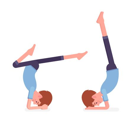 Yogi man in sport wear practicing yoga, headstand, variation of salamba sirsasana pose and handstand exercise, handsome guy training for healthy habit workout. Vector flat style cartoon illustration