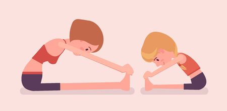 Family yoga, yogi mother, daughter in sport wear practicing yoga, doing Seated forward bend pose, paschimottanasana exercise, yogic practice together. Vector flat style cartoon illustration, side view