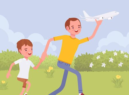 Happy family, father and son playing with toy airplane. Parent with child running outdoor holding aero plane in hand, enjoy jet model, creative playtime for kid. Vector flat style cartoon illustration