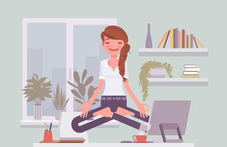 Office worker meditating for relaxation, yogi woman practicing yoga at workplace, doing Padmasana pose, Lotus exercise, restorative yogic practice in levitation. Vector flat style cartoon illustration Vectores