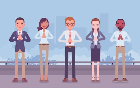 Office yoga group of business people doing Namaste hand gesture, Mudra pose, bowing in greeting, yogic relaxation techniques for physical, mental health at work. Vector flat style cartoon illustration Çizim