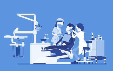 Female dentist at work in clinic. Dentistry office with professional equipment, male patient in reception room for dental therapy and teeth medicine help. Vector creative stylized illustration