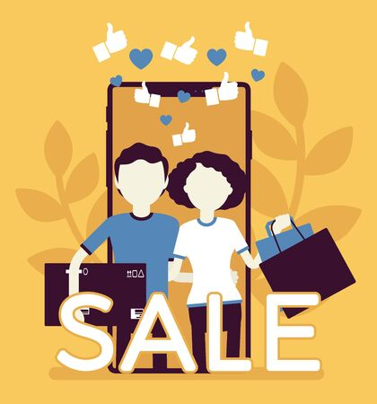 Mobile sale, e-commerce smartphone application. Couple, people, happy consumers using phones to shop, holding bags, purchase box, service for buying via device. Vector creative stylized illustration Vettoriali