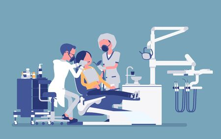 Male dentist at work in clinic. Dentistry office with professional equipment, female patient in reception room for dental therapy and teeth medicine help. Vector creative stylized illustration