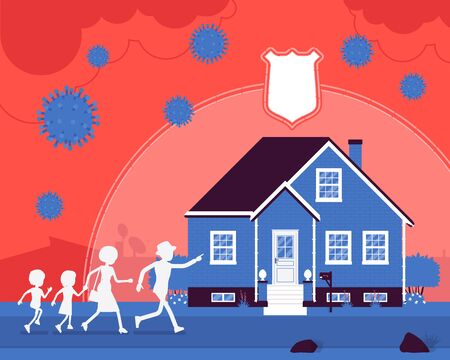 Safe house, stay home, self-isolate for black family protection. Parents and children running in quarantine, distancing to prevent spread of viruses, infections. Vector creative stylized illustration