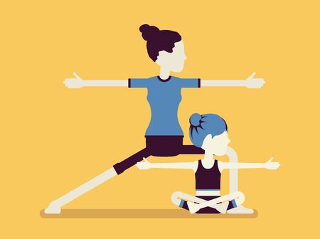 Yogi family, mother and daughter in sport wear practicing yoga together, mom with kid doing Warrior pose, Virabhadrasana 2 exercise, parent, child healthy hobby. Vector creative stylized illustration Vettoriali
