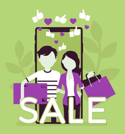 Mobile sale, e-commerce smartphone application. Young people, happy consumers using phones to shop, holding bags, purchase box, service for buying via device. Vector creative stylized illustration