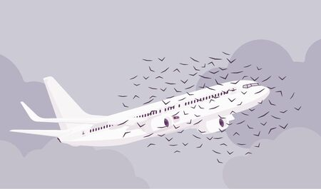 Passenger plane bird flock strike, ingestion and civil aircraft engine hit accident, collision causing vehicle sky travel jet damage or flight safety threat. Vector flat style cartoon illustration