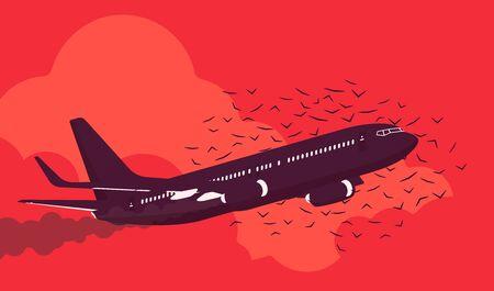 Passenger plane in danger with bird flock strike attack, civil aircraft burning engine hit accident, collision, vehicle sky travel jet damage or flight threat. Vector flat style cartoon illustration