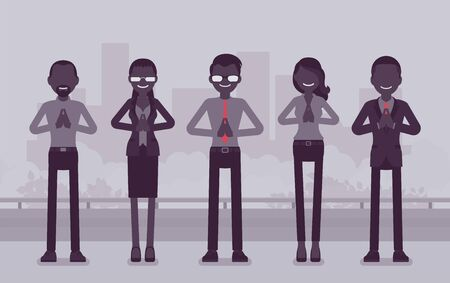 Office yoga group of business people doing Namaste hand gesture, Mudra pose, bowing in greeting, yogic relaxation techniques for physical, mental health at work. Vector creative stylized illustration 일러스트