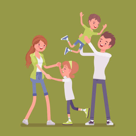 Happy family enjoy life. Father, mother, son and daughter. Positive friendly smiling people in love, agreement, accord, harmonious relations. Vector flat style cartoon illustration