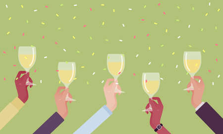 Hands holding drinks for happy festive cheers. Bright anniversary celebration, birthday party, wedding or corporate event gathering, good wishes before drinking. Vector flat style cartoon illustration