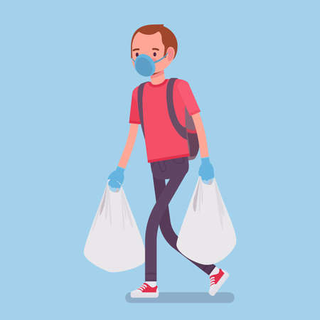 Man shopping, wearing mask, gloves for personal health care, protection during pandemic. Male consumer carrying supermarket bags purchasing in grocery store. Vector flat style cartoon illustration Ilustrace