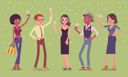 Young happy people with celebration drinks. Friends gathering for enjoyable anniversary celebration, cute birthday party, wedding, graduation or corporate event. Vector flat style cartoon illustration