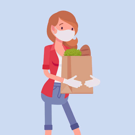 Woman shopping, wearing mask, gloves for personal health care. Female consumer carrying supermarket bags purchasing in grocery store, protection during pandemic. Vector flat style cartoon illustration Ilustrace
