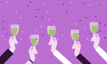 Hands holding drinks for happy festive cheers. Bright anniversary celebration, birthday party, wedding or corporate event gathering, good wishes before drinking. Vector creative stylized illustration Vettoriali