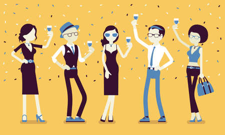 Young happy people with celebration drinks. Friends gathering for enjoyable anniversary celebration, cute birthday party, wedding, graduation or corporate event. Vector creative stylized illustration Vettoriali