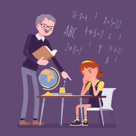 Male teacher and girl student. Unhappy child studying under strict control, bored single pupil doing homework with tutor, school practicing learning at home. Vector flat style cartoon illustration
