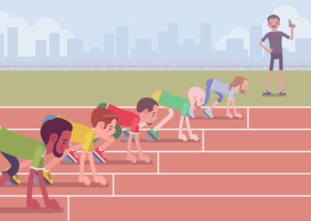 Male athletes ready for competition. Young sporty people wearing sportswear on start for running a long-distance race, beginning jogging competition, sprinting. Vector flat style cartoon illustration Vektorgrafik