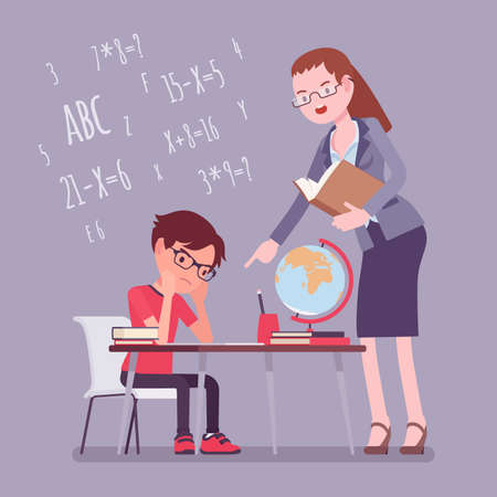 Female teacher and boy student. Unhappy child studying under strict control, bored single pupil doing homework with tutor, school practicing learning at home. Vector flat style cartoon illustration