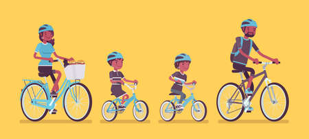 Happy black family enjoying bike ride. Father, mother, son and daughter together in sport activity riding bicycles. Positive friendly outdoor recreation or fun. Vector flat style cartoon illustration Illustration