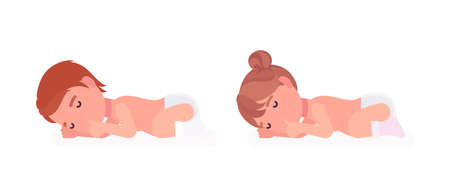 Toddler child, little boy and girl sleeping calm, sucking finger. Cute sweet happy healthy baby, children aged 12 to 36 months, wearing diaper and white socks. Vector flat style cartoon illustration Ilustração