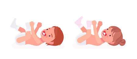 Toddler child, little boy, girl playing lying on the back. Cute sweet happy healthy baby aged 12 to 36 months with soothie pacifier, wearing diaper, white socks. Vector flat style cartoon illustration